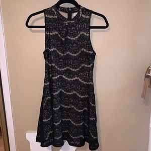 Love, Fire Sleeveless Black Lace Mini Dress